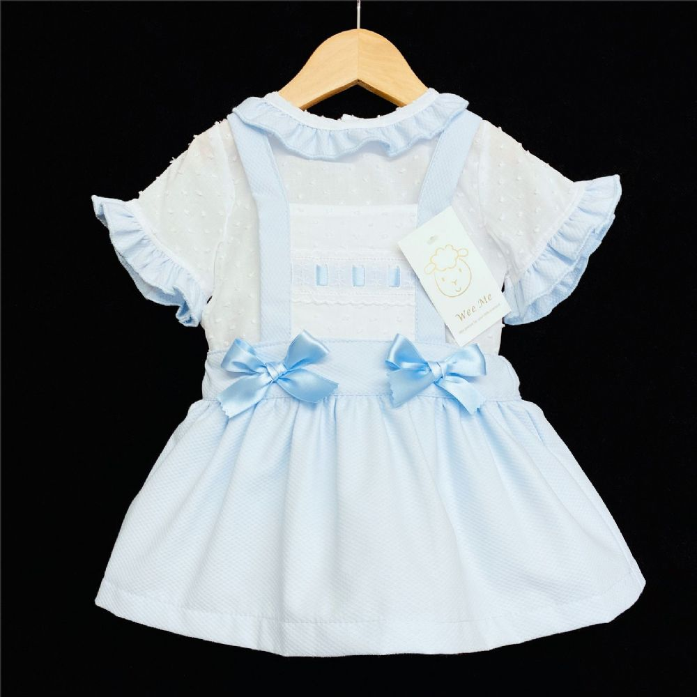 * Baby Girl Spanish Blue Waffle Pinafore Set Brace Skirt Set